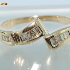 Verigheta/inel aur galben 14K diamante naturale cognac 0, 26CT
