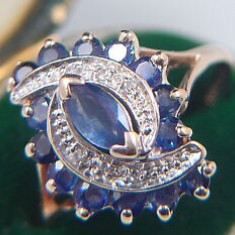 Inel aur cu safire si diamante naturale