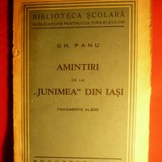 GH. PANU - AMINTIRI DE LA JUNIMEA din Iasi- 1935 - Eseu