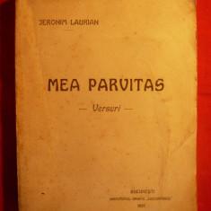 JERONIM LAURIAN - MEA PARVITAS - Versuri -Prima Ed-1921 - Carte poezie
