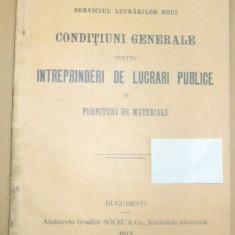 Caile Ferate Romane-CONDITIUNI - lucrari publice-1913 - Carte Editie princeps