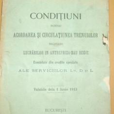 Caile Ferate Romane-CONDITIUNI pentru circulatie-1913 - Carte Editie princeps