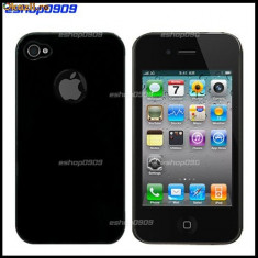 Carcasa husa protectie neagra rigida Apple Iphone 4G OS 4 + folie protectie ecran