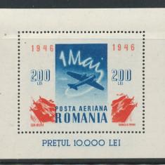 1946 Romania Colita nestampilata 1 Mai aviatie fara sarniera stare f buna MNH - Timbre Romania