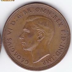 Anglia-Marea Britanie HALF PENNY 1945 regele George VI.