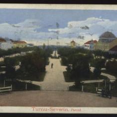 Turnu Severin, parcul, circulata, 1916, supratipar