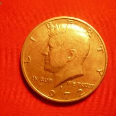 1/2 Dolar 1972 SUA, lit.D, aproape NC, metal alb, d=3cm.