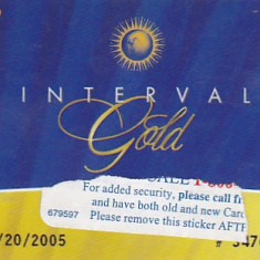 Card plastic Interval Gold SUA
