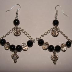 cercei cu perle de sticla sicristale fatenate