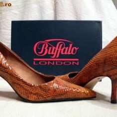 Pantofi caramel aspect sarpe (781-62 CARAMELLO) BUFFALO - Pantof dama Buffalo, Culoare: Maro, Marime: 37, 38, 39, 40, Piele naturala