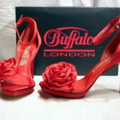 Minunate ! Sandale de gala pentru femei, rosii, din saten (9900-380 RED) REDUCERE EXCEPTIONALA DE PRET - Sandale dama Buffalo, Culoare: Rosu, Marime: 36, 39, 40, 41, Rosu