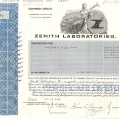268 Actiuni -ZENITH LABORATORIES, INC. -seria ZLU 18086