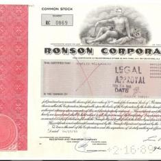 343 Actiuni -RONSON CORPORATION -seria RC 0869