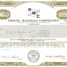 381 Actiuni -PHOENIX MATERIALS CORPORATION-seria S 1384
