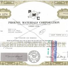 380 Actiuni -PHOENIX MATERIALS CORPORATION-seria JU1274