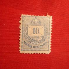 Timbru 10 Kr.albastru 1881 Ungaria,dant.13 1/2 ,fara guma