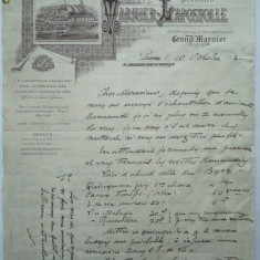Scrisoare firma Warnier , cu  filiala in Romania , 1923 , meniu , lista bauturi