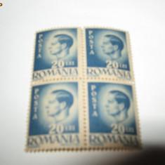 BLOC DE PATRU REGELE MIHAI 1945 20 LEI - Timbre Romania