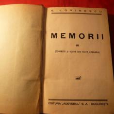 EUGEN LOVINESCU - MEMORII III -Prima Editie 1932 - Eseu