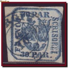 Romania 1862 - Principatele Unite 30 Parale EROARE dubla impresiune, tipar dublu - Timbre Romania, Istorie, Stampilat