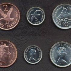 INSULELE FALKLAND SET DE MONEDE 1, 2, 5, 10, 20 Pence 1998-2004 UNC, America Centrala si de Sud