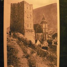 BRASOV - BISERICA EVANGHELICA SI TURNUL NEGRU - INCEPUT DE 1900