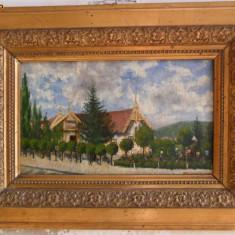 Gara Bistrita 1901 , pictura veche in ulei pe panza, Peisaje, Altul