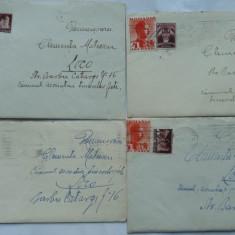 8 plicuri interbelice circulate, continand si scrisorile, pe hartie de lux - Plic Papetarie
