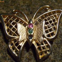 Brosa fluture cu strasuri colorate / potrivit si de martisor