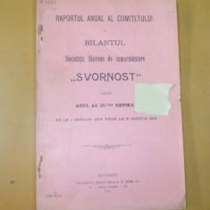 Raport anual Soc. slavona inmormantare Buc. 1910 - Carte Editie princeps