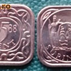 Suriname 5 cent 1988 UNC, America Centrala si de Sud