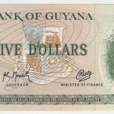 Bancnota 5 dolari Guyana UNC necirculata