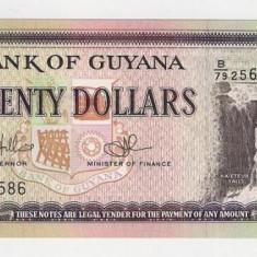 Bancnota 20 dolari Guyana UNC necirculata