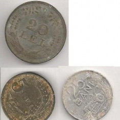 Lot Monede Romania 25 bani 1982, 20 lei 1944, 5 lei 1942 - Moneda Romania