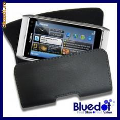 Toc din piele pentru curea universal nokia sony prindere curea - Husa Telefon Nokia, Universala, Negru