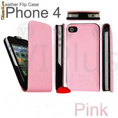 Toc din piele roz iphone 4 poze reale + folie protectie ecran fata spate + expediere gratuita