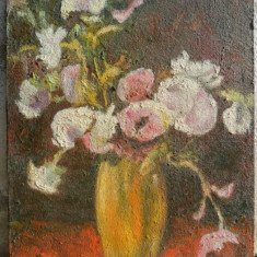 Vaza cu flori - 4 pictura in ulei pe carton