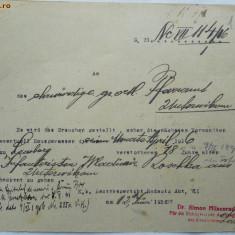 Document medical austriac, Bucovina, 1916 - Hartie cu Antet