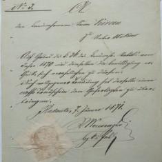 Document austriac, Bucovina, 1871 - Hartie cu Antet