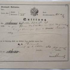 Document austriac, Bucovina, 1869 - Hartie cu Antet