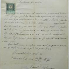 Marturie de vestiri, Bucovina, 1893 - Hartie cu Antet