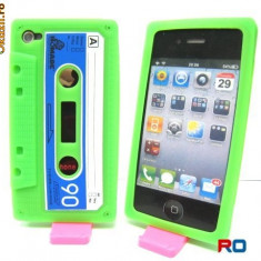 Husa protectie iphone 4 verde din silicon model caseta - Husa Telefon Apple, iPhone 4/4S