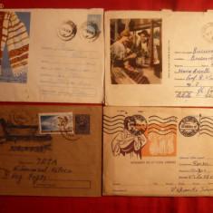4 Plicuri Postale Ilustrate - Intreg -Arta Populara 1956-1963 - Plic Papetarie
