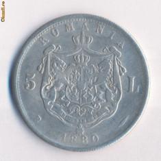 Romania - 5 Lei 1880 - FALS ( diametrul 38 mm ) - Moneda Romania