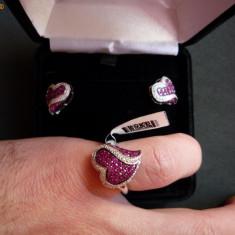 Set cercei si inel din aur alb cu rubin natural - Set bijuterii aur alb