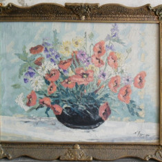 Megyesi Lucretia , vaza cu flori , pictor Baia Mare, pictura ulei pe panza, Impresionism