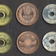 JAPONIA SET DE MONEDE 1, 5, 10, 50, 100 Yen UNC, Asia