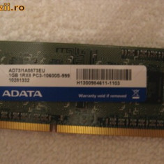 Memorie laptop 1GB DDR3 livrare gratuita - Memorie RAM laptop A-data, 1333 mhz