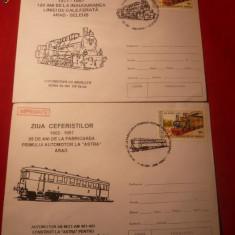 2 Plicuri Ilustrate -LOCOMOTIVE -Cai Ferate, stampile speciale - Plic Papetarie