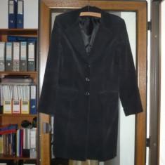Pardesiu, haina, trench de dama, negru din catifea reiata, elegant! - Trench dama